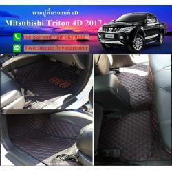 พรมปูพื้นรถยนต์6D Mitsubishi Triton 4 ประตู 2018 สีดำด้ายแดง