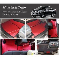 ยางปูพื้นรถยนต์ Mitsubishi triton ลายธนูสีแดงขอบดำ