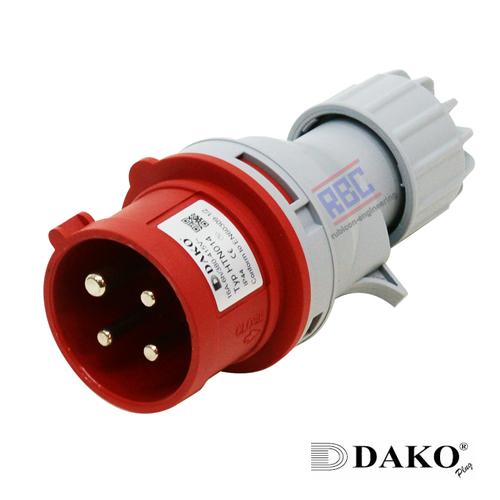 HTN 024 ปลั๊กตัวผู้กลางทาง (3P+E) 32A / 380-415V ~/ IP44