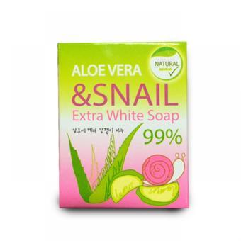 สบู่อโลเวร่า หอยทาก เอ็กซ์ตร้า ไวท์ โซฟ Aloe Vera & Snail Extra Wite Soap 99%