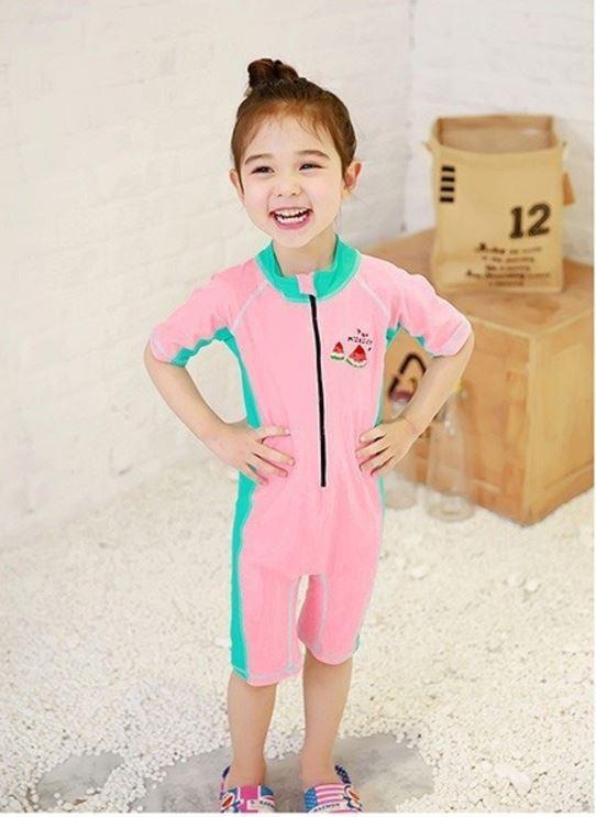 ชุดว่ายน้ำเด็กบอดี้สูทเด็กผู้หญิง ซิปหน้า สีชมพูเขียว