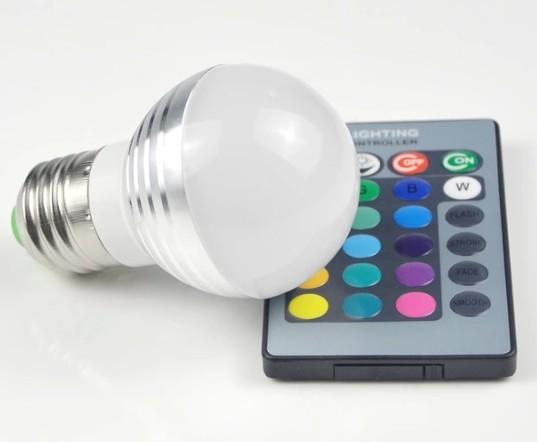 หลอดไฟ LED เปลี่ยนสีได้ 16 สี พร้อมรีโมท led 16 color in 1 RGB