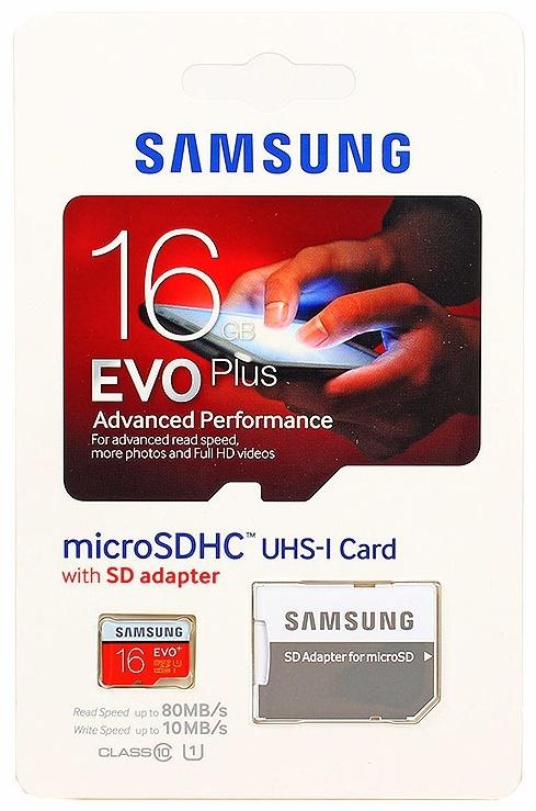 16 GB MICRO SD CARD EVO PLUS SAMSUNG CLASS 10