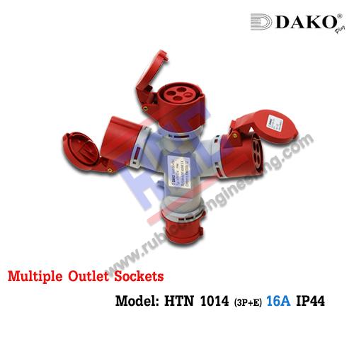 ปลั๊กกระจายไฟเข้า1ออก3 (HTN1014) (3P+E) 16A ,400V ~,IP44