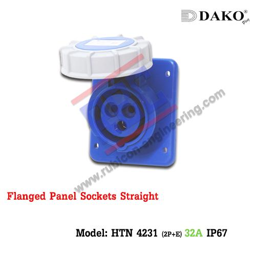 เต้ารับฝังตรงกันน้ำ HTN 4231 (3P) 32A ,220-250V ~, IP67 ,DAKO