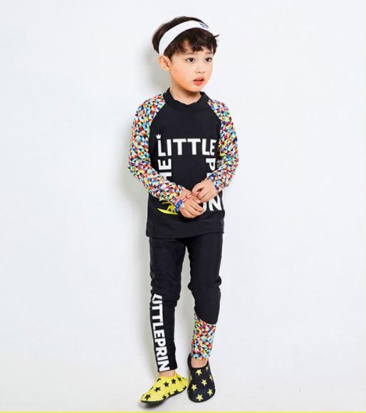 ชุดว่ายน้ำเด็กแขนยาว ขายาว สีดำ The little Prince ( มี สีดำ / สีขาว , ใส่ได้ทั้ง ดช. / ดญ. )