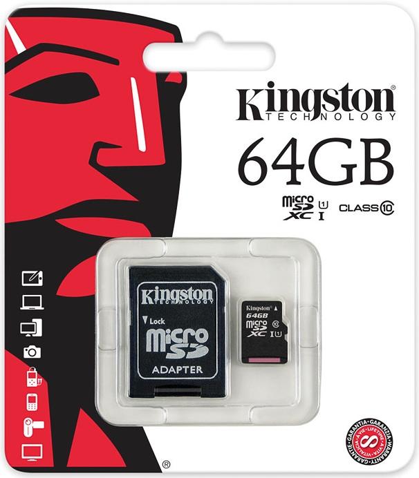 64 GB MICRO SD CARD KINGSTON CLASS 10