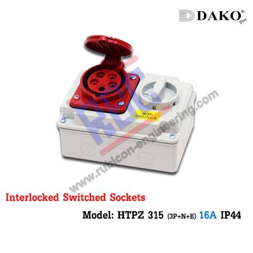 เต้ารับพร้อมสวิทช์ล็อค(HTPZ 315) (3P+N+E)16A ,400V ~ ,IP44