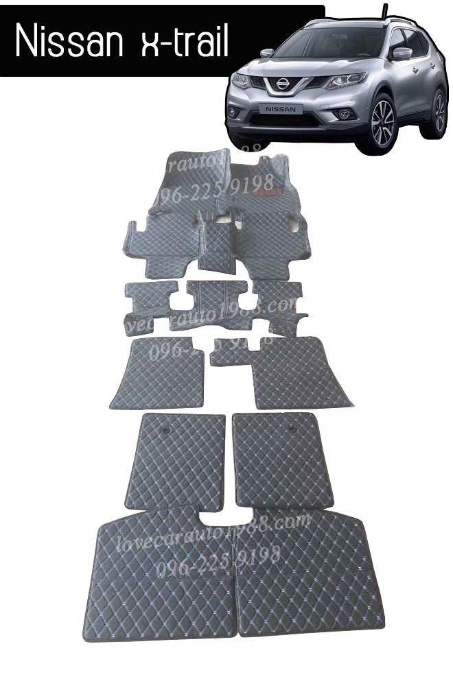 พรม 6D Nissan x-trail สีดำด้ายฟ้า