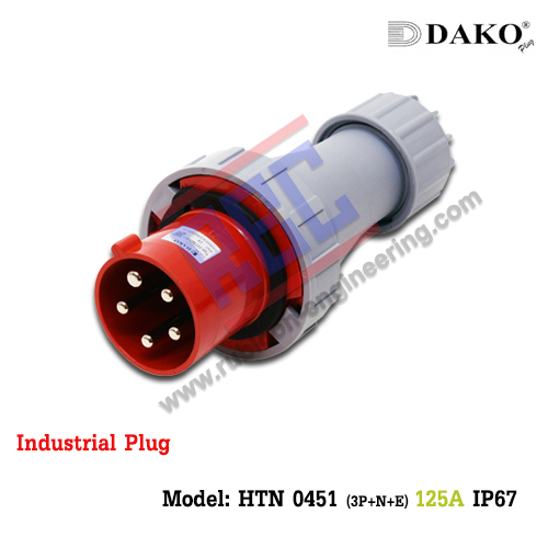 HTN 0451 ปลั๊กตัวผู้กลางทางกันน้ำ (3P+N+E) 125A IP67