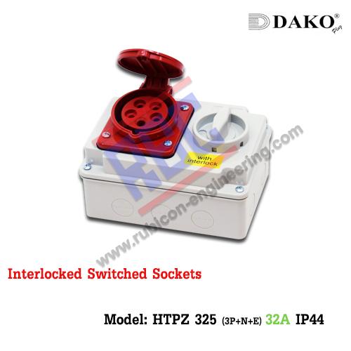 เต้ารับพร้อมสวิทช์ล็อค(HTPZ 325) (3P+N+E) 32A ,400V ~ ,IP44