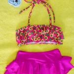 ชุดว่ายน้ำเด็ก สีชมพู แยกเป็น 2 ชิ้น ลายดอกไม้น่ารัก