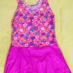 ชุดว่ายน้ำเด็กผู้หญิงลายดอกไม้ กระโปรงสีชมพู สวย หวาน น่ารัก