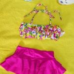 ชุดว่ายน้ำเด็ก สีชมพูกราฟฟิก น่ารักสดใส แยกเป็น 2 ชิ้น