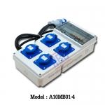 A10MB01-4 กล่องกระจายไฟ เพาเวอร์ปลั๊ก 2P+E (3P)16A x4 / 230V ~ / IP44