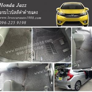 พรมปูพื้นรถยนต์ Honda Jazz ไวนิลสีดำด้ายแดง