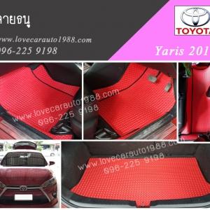 พรม Toyota yaris2016 ลายธนู สีแดงขอบดำ