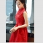 เดรสแขนกุดสีแดง ตัวเสื้อผ้าถักโครเชต์ลายดอกไม้ คอจีน เดรสเข้ารูปช่วงเอว thumbnail 5