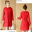 เดรสผ้าลูกไม้เนื้อดี สีแดงแขนยาว ทรงตรง คอเสื้อระบายผ้าลูกไม้ มาพร้อมสายผูกเอวเหมือนแบบ thumbnail 9