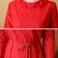 เดรสผ้าลูกไม้เนื้อดี สีแดงแขนยาว ทรงตรง คอเสื้อระบายผ้าลูกไม้ มาพร้อมสายผูกเอวเหมือนแบบ thumbnail 3