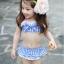 ชุุดว่ายน้ำเด็กผู้หญิงทูพีชสีฟ้าขาว พร้อมหมวก thumbnail 1