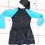 ชุดว่ายน้ำเด็กชุดกระโปรงพร้อมหมวก ข้างในเป็นกางเกงขาสั้น ชุดสีดำ แขนสีฟ้าแถบชมพู thumbnail 1