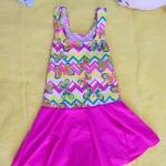 ชุดว่ายน้ำเด็กผู้หญิงลายผีเสื้อ กระโปรงสีชมพู น่ารัก